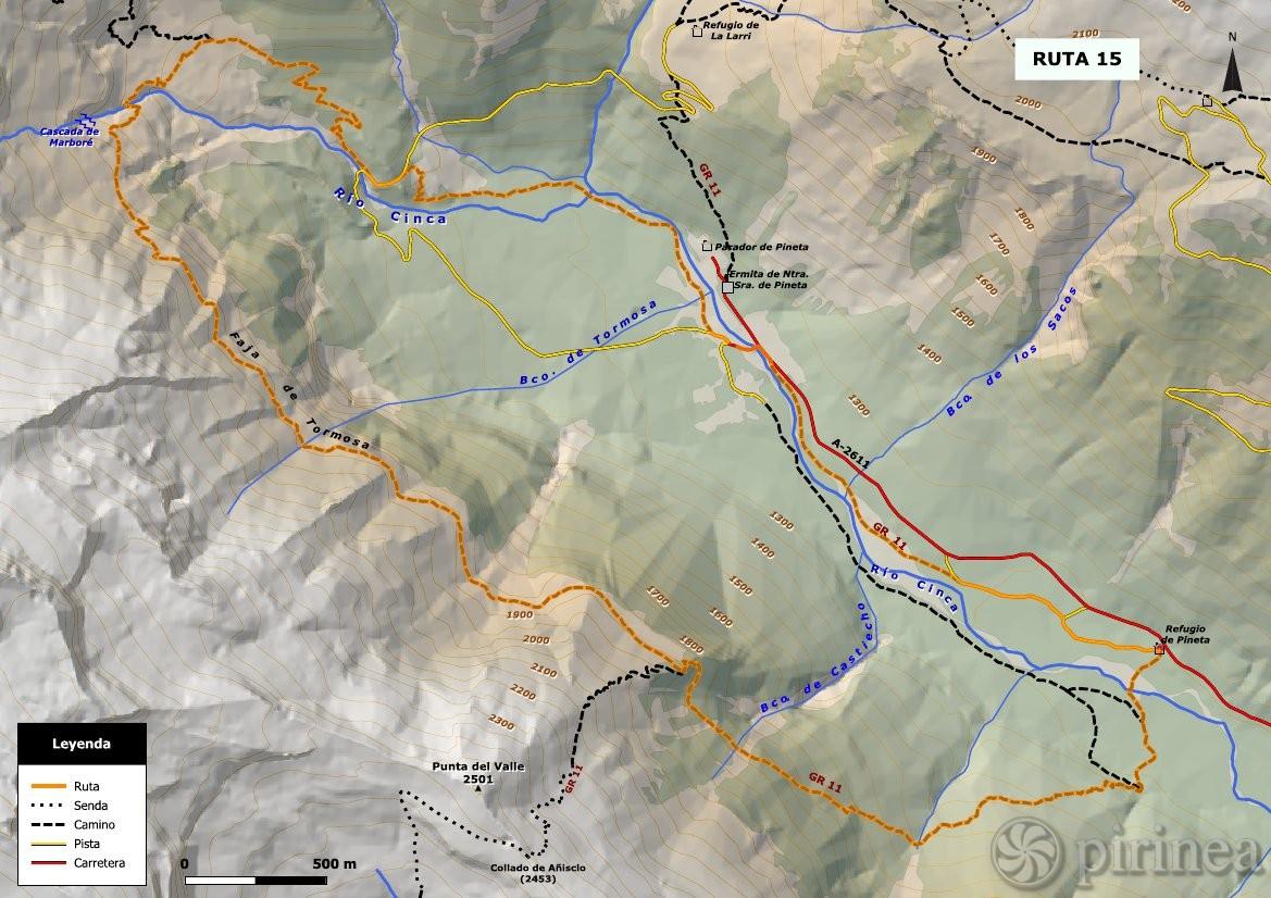 Valle De Pineta Mapa.Faja De Tormosa Turismo De Bielsa