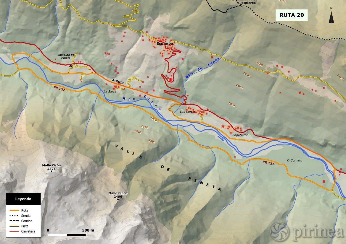 Valle De Pineta Mapa.Valle Medio De Pineta Turismo De Bielsa