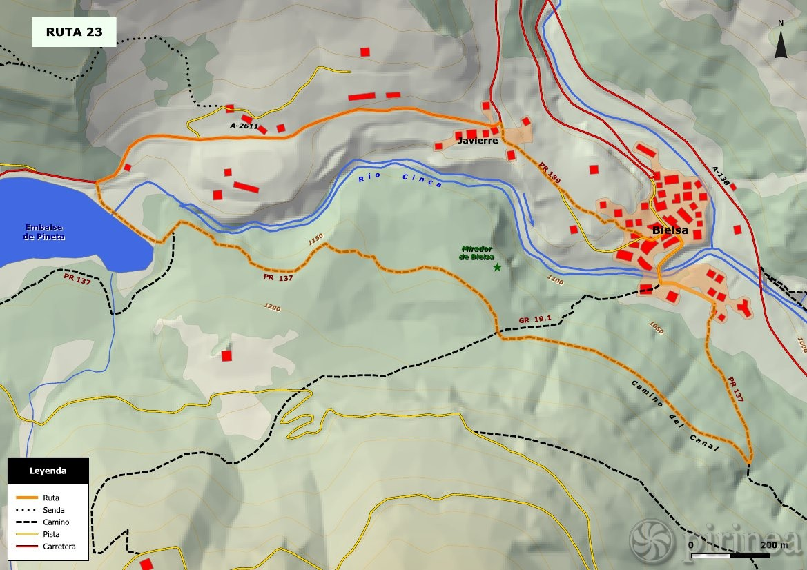 Valle De Pineta Mapa.Bielsa Y Embalse De Pineta Turismo De Bielsa