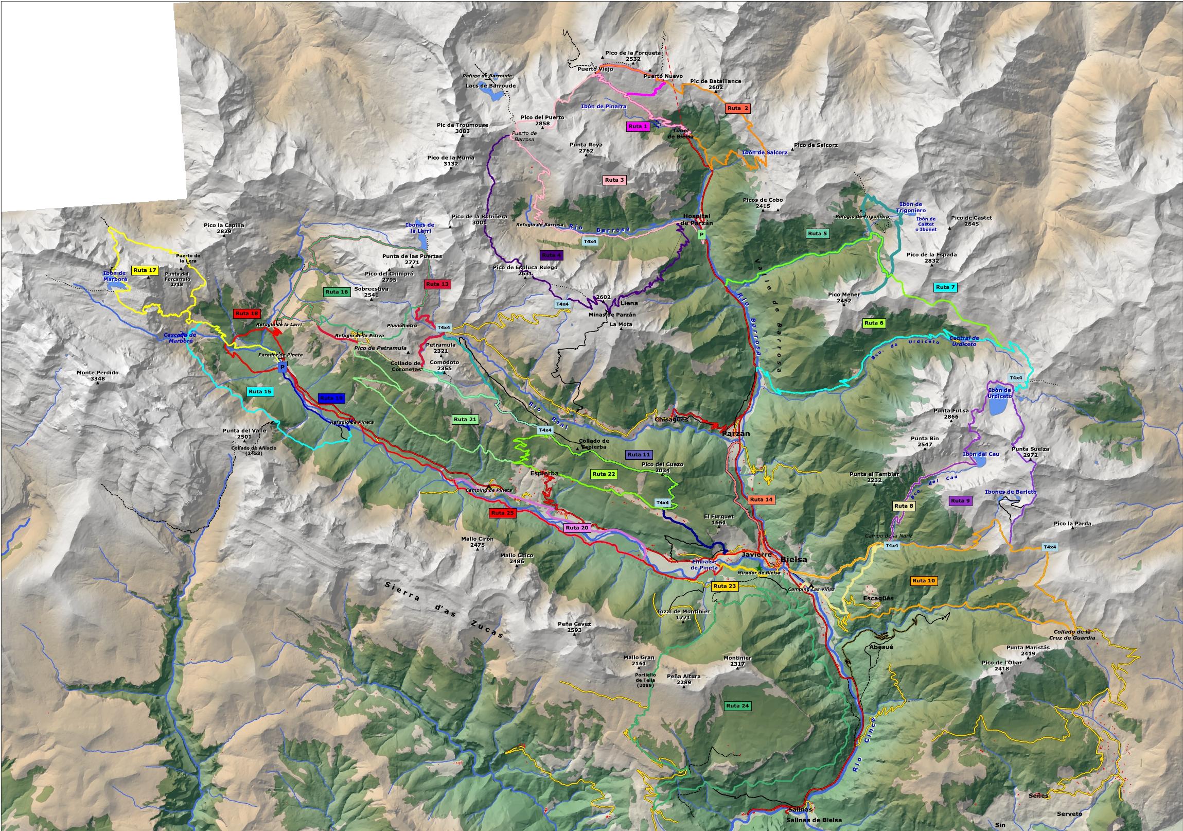 Valle De Pineta Mapa.Turismo De Bielsa Tus Rutas De Senderismo Cerca De Bielsa